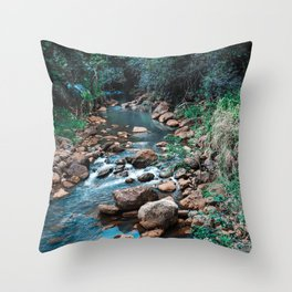 Flowing Botanical Garden Creek Portrait Throw Pillow