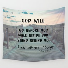 I Am with you Always Bible Verse with Quote Wall Tapestry