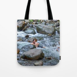 Brothers in harmony in the powerful Mameyes River - El Yunque rainforest PR Tote Bag