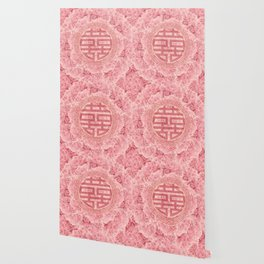 Double Happiness Symbol on Pink Peonies Wallpaper