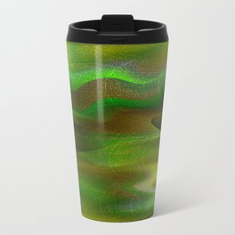 Waves of Abstraction (olive-apple-avocado green) Travel Mug