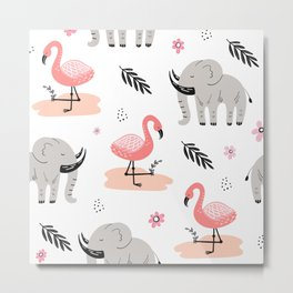 flamingos and elephants pattern Metal Print