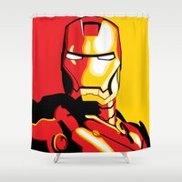 iron man Shower Curtains featuring Iron Man by C.Rhodes Design