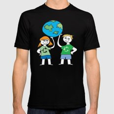 Recycle Message Kids Black Mens Fitted Tee SMALL