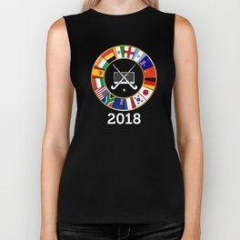 Field Hockey Country Flags 2018 with Hockey Sticks and Goal Biker Tank