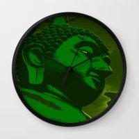 buddah Wall Clocks featuring Buddah Head 02; Green  by Kether Carolus