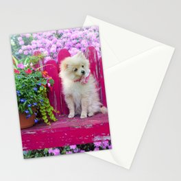 Sweet Little Dog on a Pink Park Bench Stationery Cards