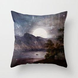 Love under A Wishing Star Sky Throw Pillow