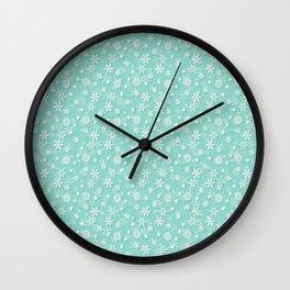 Seafoam Blue Green Christmas Snowflakes Wall Clock