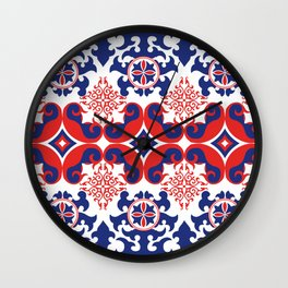 Asian red and blue pattern Wall Clock