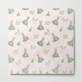 Sweet Little Bunny Rabbit Pattern Print Metal Print