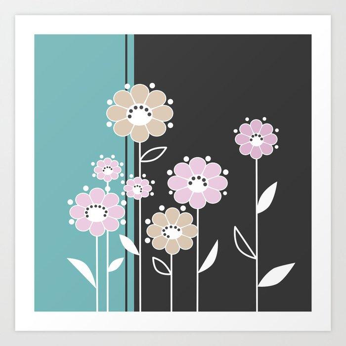 Floral applique . Retro . Art Print