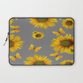 Fluttering Yellow butterflies Sunflowers Grey Pattern Art Laptop Sleeve