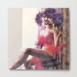 Painted Fan Dancer - Afterthoughts & Alcohol Metal Print