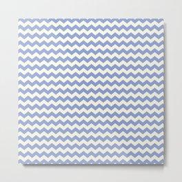 Blue & Cream Summer Chevron Pattern Metal Print