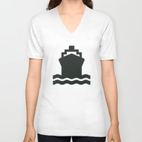 ship V-neck T-shirts featuring Ship by Alejandro Díaz