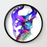 maleficent Wall Clocks featuring Maleficent by Ryky