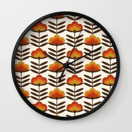 Boogie - retro florals minimal trendy 70s style throwback flower pattern Wall Clock