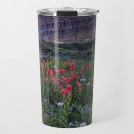 Mt. Timpanogos Wildflowers At Sunset Travel Mug