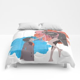 DARLING in the FRANXX Minimalist (Hiro and Zero Two) Comforters