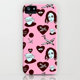 aspri petra white stone heart kalimera pink iPhone Case
