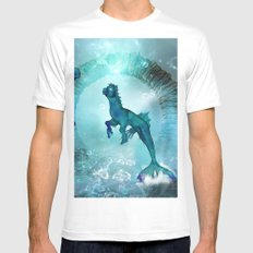 Fantasy seahorse MEDIUM White Mens Fitted Tee