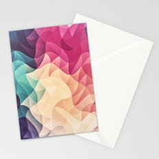 Geometry Triangle Wave Multicolor Mosaic Pattern - (HDR - Low Poly Art) - FULL Stationery Cards