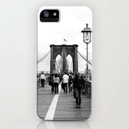 Walking the Brooklyn Bridge from Manhattan, New York iPhone Case