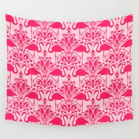 damask Wall Tapestries featuring Flamingo Damask by Jacqueline Maldonado