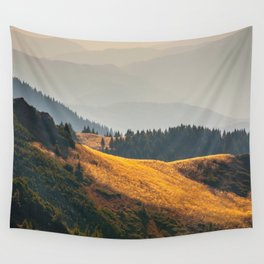 Parallax Landscape Rolling Hills Photo Nature In Morning Sunlight Wall Tapestry