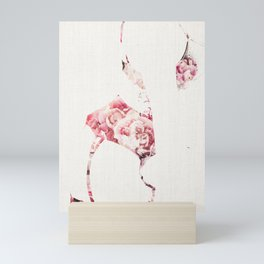 Figure of a Woman in Lingerie-Floral Canvas Mini Art Print