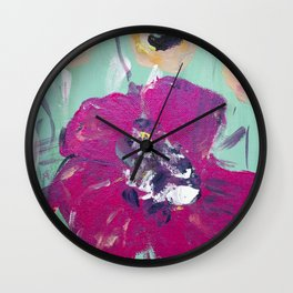 Pink cream anemone, floral pattern Wall Clock