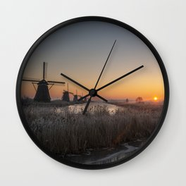 Windmills at Sunrise V Wall Clock