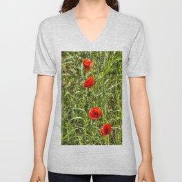 Summer Poppys Unisex V-Neck