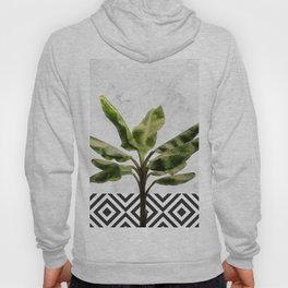 Banana Plant on White Marble and Checker Wall Hoody