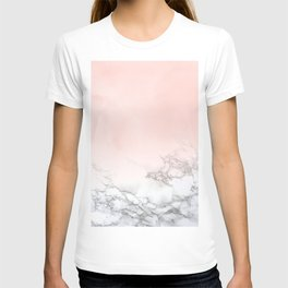 Blush Pink on White and Gray Marble III T-shirt