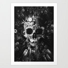 Garden Skull Dark B&W Art Print