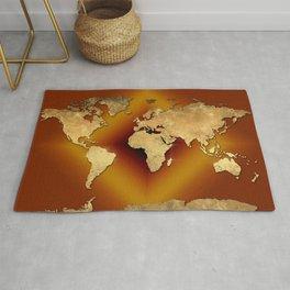 world map gold Rug