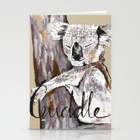 cuddle Stationery Cards featuring koala cuddle by Katy Lloyd