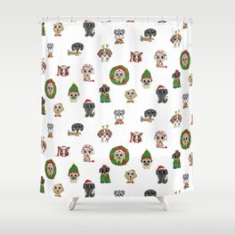 Christmas Puppies Shower Curtain