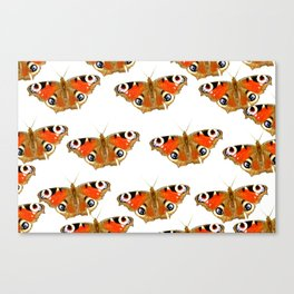 Beautiful Peacock Butterflies On A White Background #decor #society6 Canvas Print