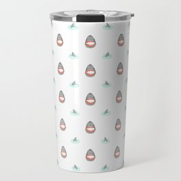 Shark Heads & Fins in Grey on White With Aqua Ripples Travel Mug