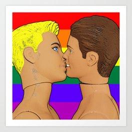 Rainbow Flag Gay Kiss Art Print