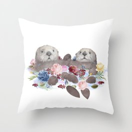 Sea Otters Holding Hands, Love Art Throw Pillow