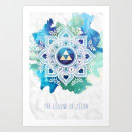 A Legendary Blue/Green Zelda Mandala Art Print