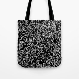 Pattern design crowded with terrific doodles Tote Bag