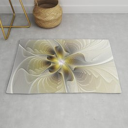 Gold And Silver, Abstract Flower Fractal Rug