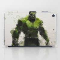 water colour iPad Cases featuring Water Colour Hulk by Scofield Designs