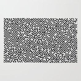 Labyrinth pattern - Black and white pattern Rug