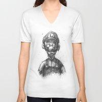 luigi V-neck T-shirts featuring The Undead Bros. (Luigi) by Chad Wehrle
